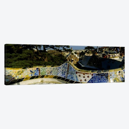 Antoni Gaudi's Mosaic On The Back Of The Terrace's Serpentine Bench, Parc Guell, Barcelona, Catalonia, Spain Canvas Print #PIM5513} by Panoramic Images Canvas Art