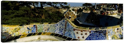 Antoni Gaudi's Mosaic On The Back Of The Terrace's Serpentine Bench, Parc Guell, Barcelona, Catalonia, Spain Canvas Art Print
