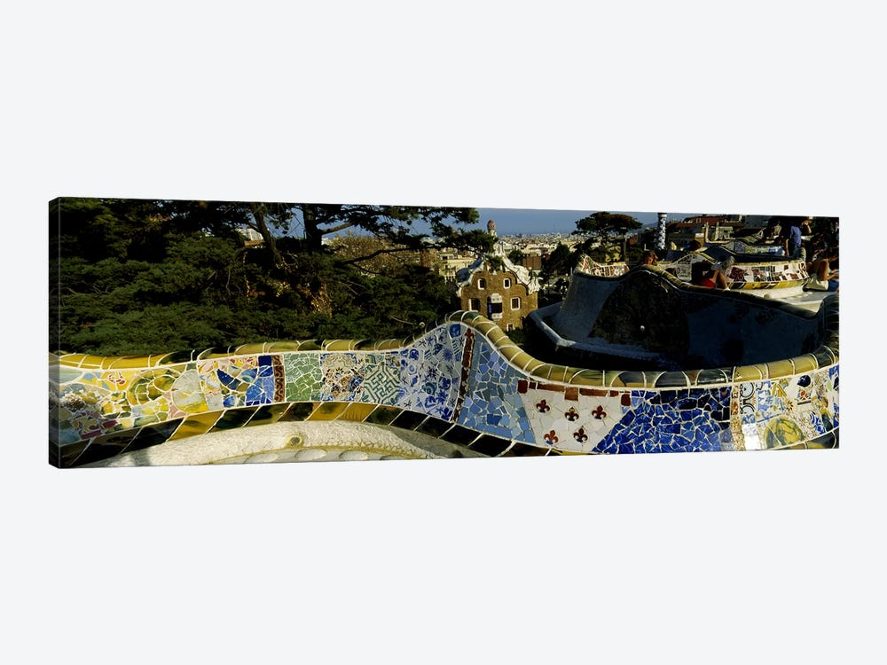Antoni Gaudi's Mosaic On The Back Of The Terrace's Serpentine Bench, Parc Guell, Barcelona, Catalonia, Spain by Panoramic Images 1-piece Canvas Artwork