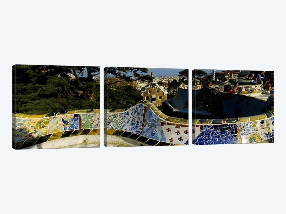 Antoni Gaudi's Mosaic On The Back Of The Terrace's Serpentine Bench, Parc Guell, Barcelona, Catalonia, Spain by Panoramic Images 3-piece Canvas Wall Art