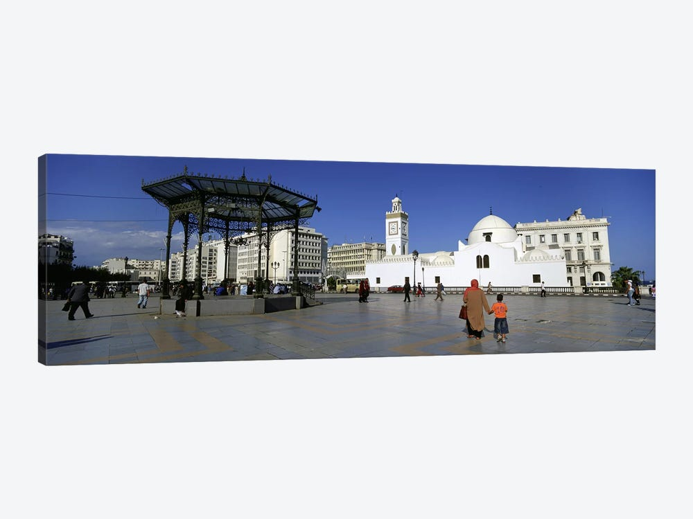 Tourists walking in front of a mosque, Jamaa-El-Jedid, Algiers, Algeria by Panoramic Images 1-piece Canvas Wall Art