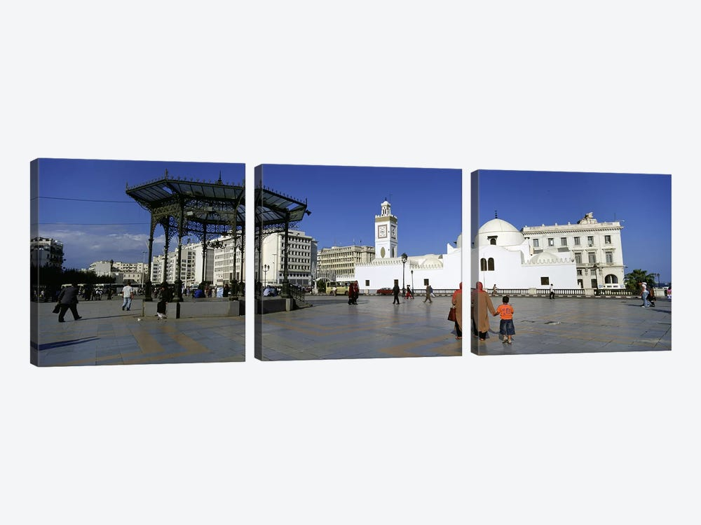 Tourists walking in front of a mosque, Jamaa-El-Jedid, Algiers, Algeria by Panoramic Images 3-piece Canvas Art