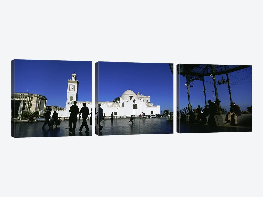 Tourists walking in front of a mosque, Jamaa-El-Jedid, Algiers, Algeria #2 by Panoramic Images 3-piece Canvas Wall Art
