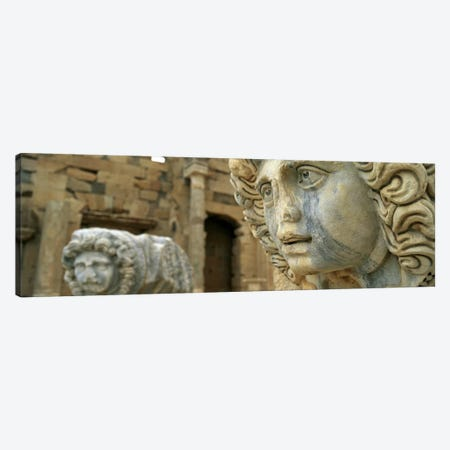Close-up of statues in an old ruined building, Leptis Magna, Libya Canvas Print #PIM5542} by Panoramic Images Art Print