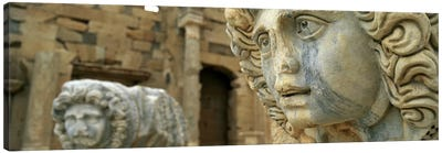 Close-up of statues in an old ruined building, Leptis Magna, Libya Canvas Art Print
