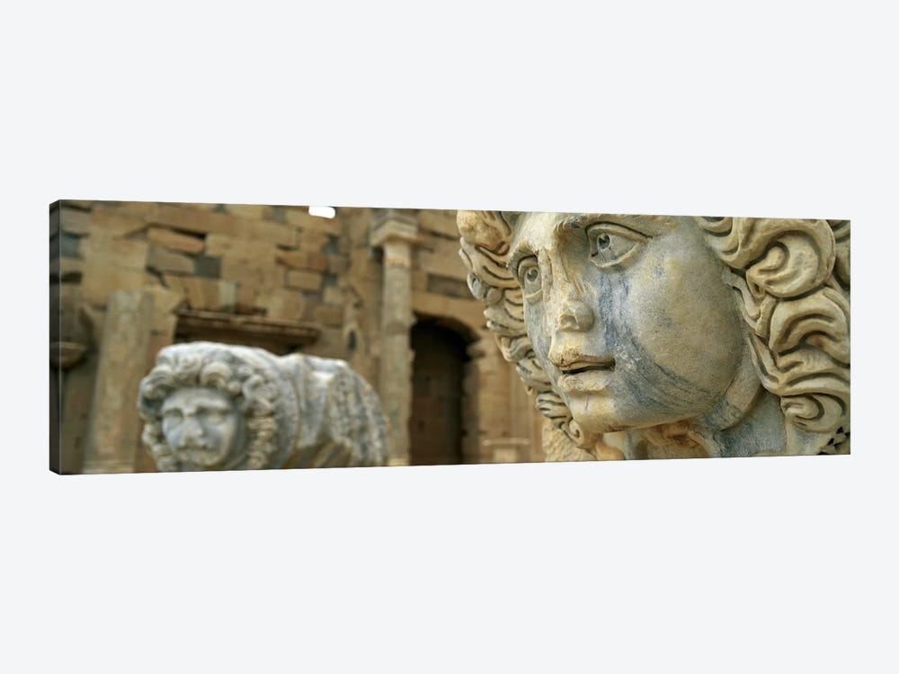 Close-up of statues in an old ruined building, Leptis Magna, Libya by Panoramic Images 1-piece Canvas Wall Art
