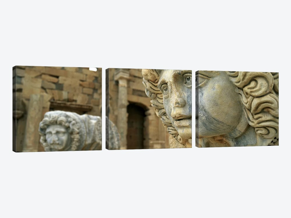 Close-up of statues in an old ruined building, Leptis Magna, Libya by Panoramic Images 3-piece Canvas Art