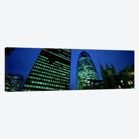 Low-Angle View Of 30 St Mary Axe (Gherkin), London, England Canvas Print #PIM5548} by Panoramic Images Canvas Art Print