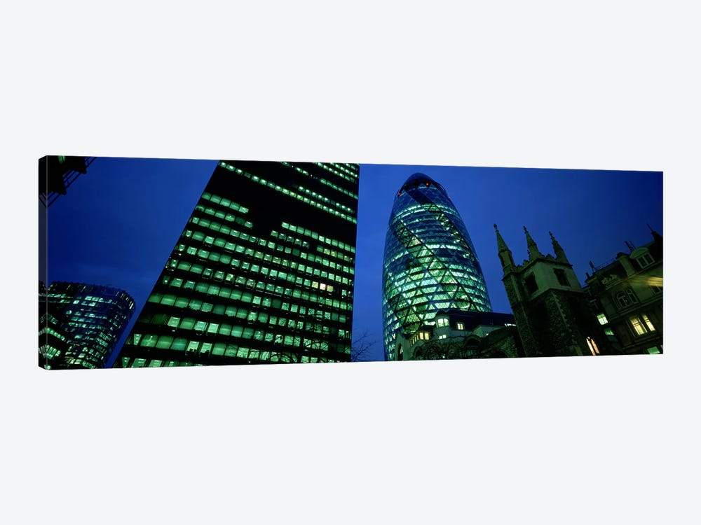 Low-Angle View Of 30 St Mary Axe (Gherkin), London, England by Panoramic Images 1-piece Canvas Art