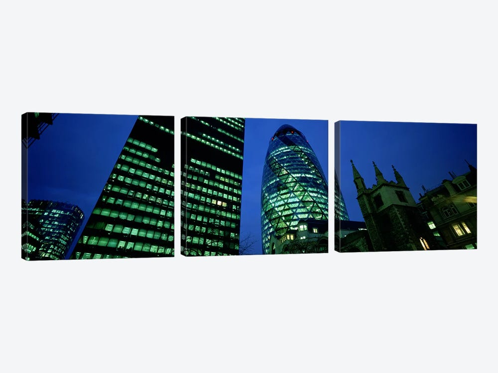 Low-Angle View Of 30 St Mary Axe (Gherkin), London, England by Panoramic Images 3-piece Canvas Art