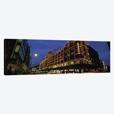 Harrods Department Store At Night, Knightsbridge, London, England Canvas Print #PIM5551} by Panoramic Images Canvas Art