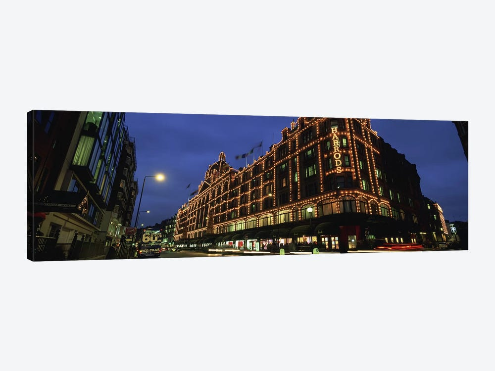 Harrods Department Store At Night, Knightsbridge, London, England by Panoramic Images 1-piece Canvas Artwork