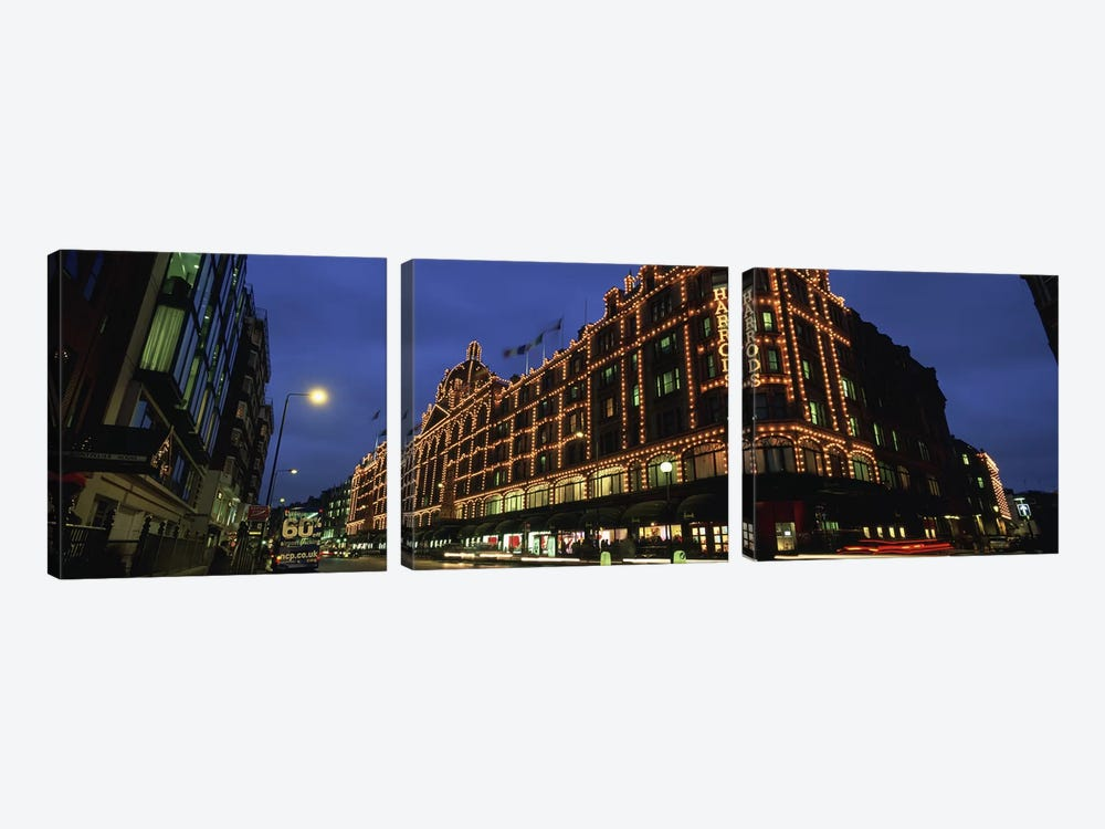 Harrods Department Store At Night, Knightsbridge, London, England by Panoramic Images 3-piece Canvas Wall Art