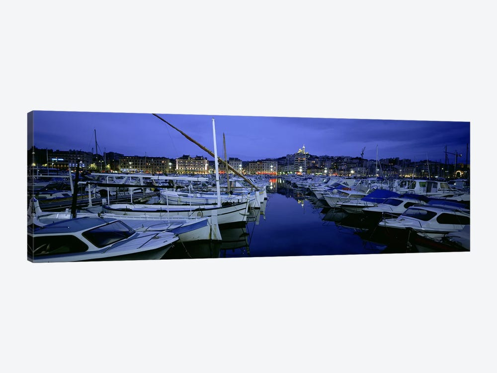 Docked Boats At Night, Old Port, Marseille, Provence-Alpes-Cote d'Azur, France by Panoramic Images 1-piece Canvas Art Print
