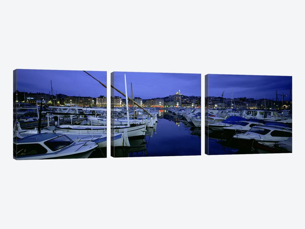 Docked Boats At Night, Old Port, Marseille, Provence-Alpes-Cote d'Azur, France by Panoramic Images 3-piece Canvas Art Print