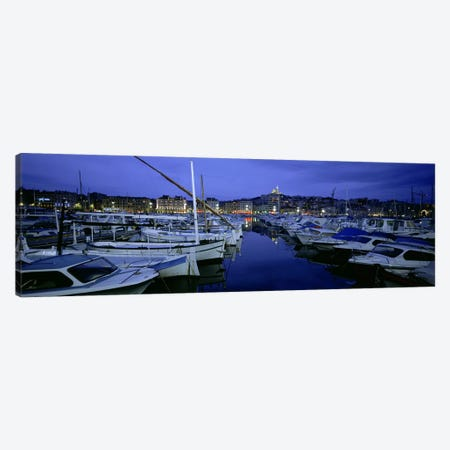 Docked Boats At Night, Old Port, Marseille, Provence-Alpes-Cote d'Azur, France Canvas Print #PIM5556} by Panoramic Images Canvas Print