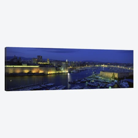 Old Port At Night, Marseille, Provence-Alpes-Cote d'Azur, France Canvas Print #PIM5557} by Panoramic Images Canvas Print