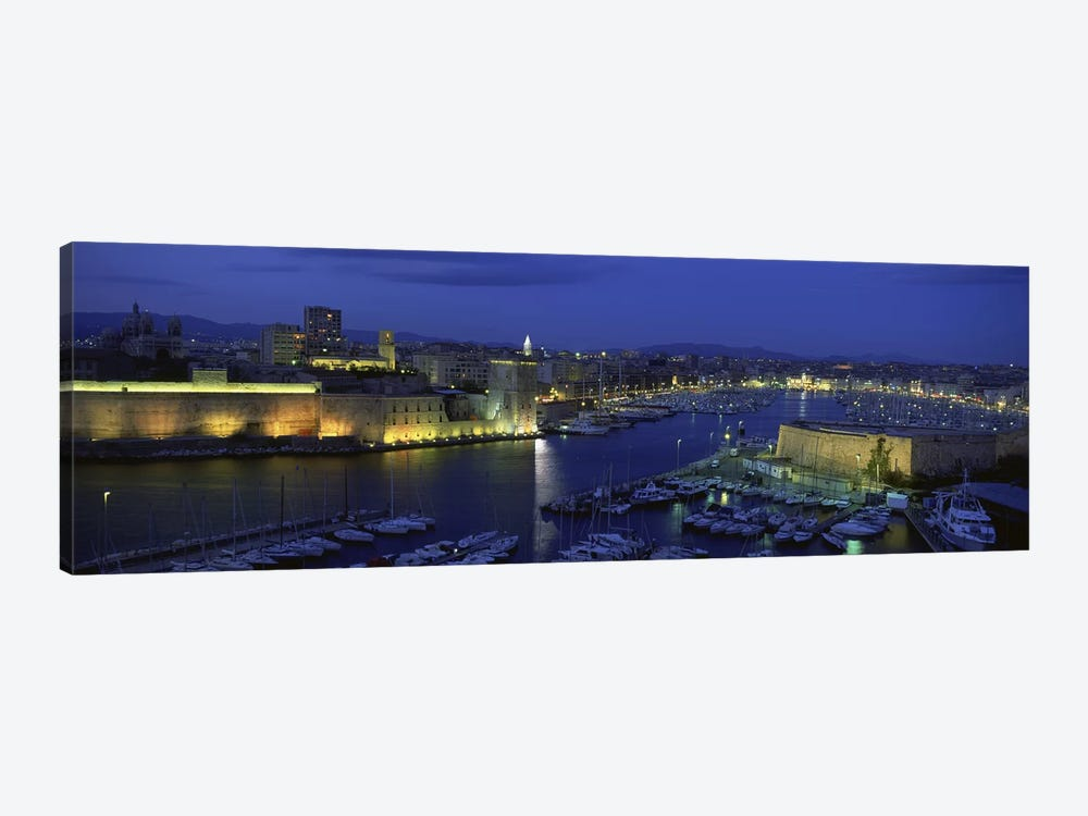Old Port At Night, Marseille, Provence-Alpes-Cote d'Azur, France by Panoramic Images 1-piece Canvas Artwork
