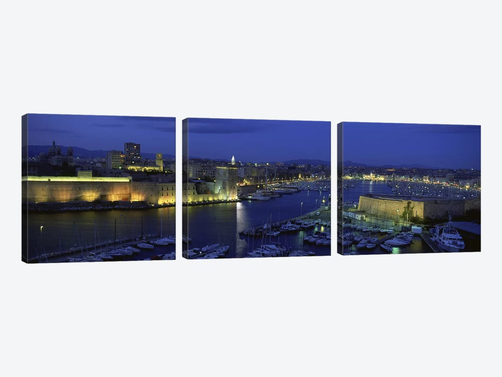Old Port At Night, Marseille, Provence-Alpes-Cote d'Azur, France by Panoramic Images 3-piece Canvas Wall Art