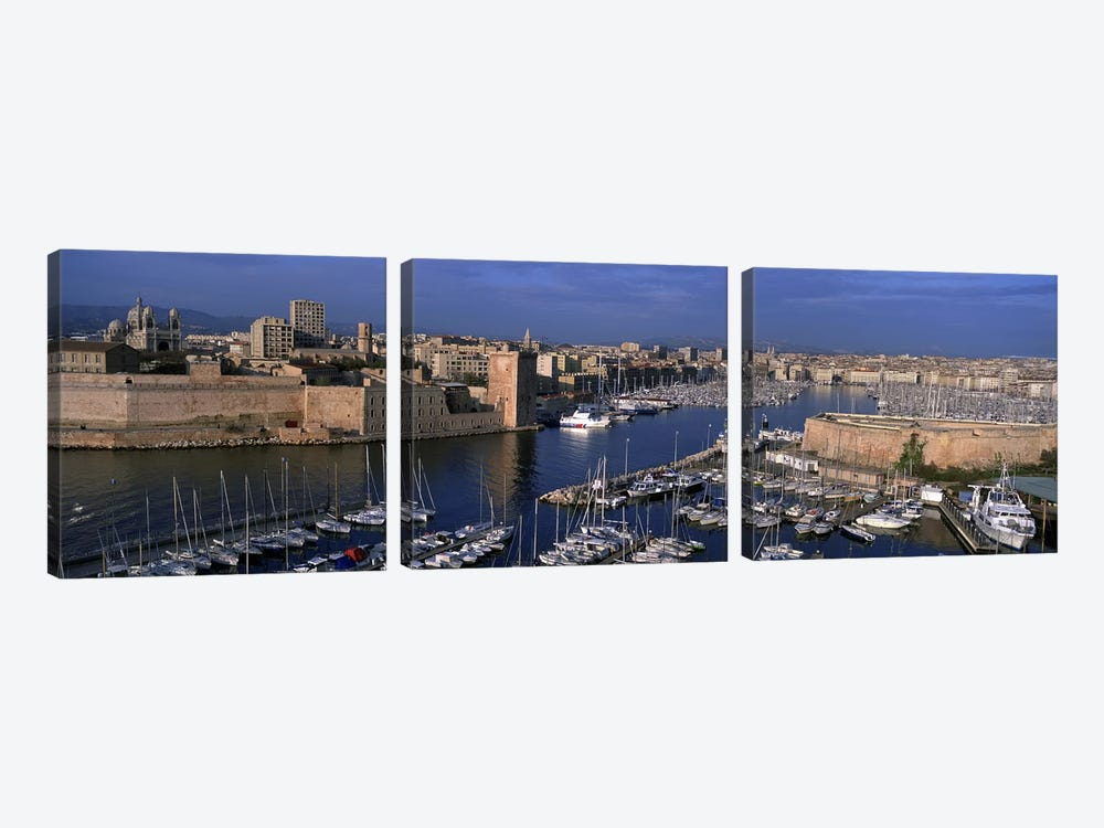Old Port, Marseille, Provence-Alpes-Cote d'Azur, France by Panoramic Images 3-piece Canvas Print