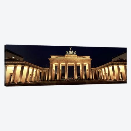 Low angle view of a gate lit up at night, Brandenburg Gate, Berlin, Germany Canvas Print #PIM5561} by Panoramic Images Art Print