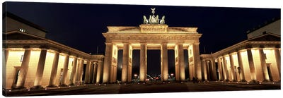 Low angle view of a gate lit up at night, Brandenburg Gate, Berlin, Germany Canvas Art Print