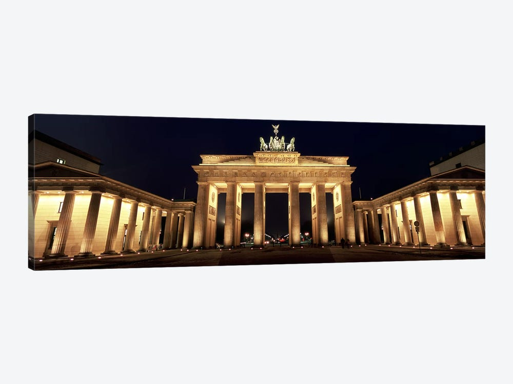 Low angle view of a gate lit up at night, Brandenburg Gate, Berlin, Germany by Panoramic Images 1-piece Canvas Art Print