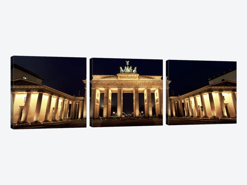 Low angle view of a gate lit up at night, Brandenburg Gate, Berlin, Germany by Panoramic Images 3-piece Art Print