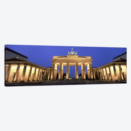 An Illuminated Brandenburg Gate, Berlin, Germany Canvas Print #PIM5562} by Panoramic Images Art Print