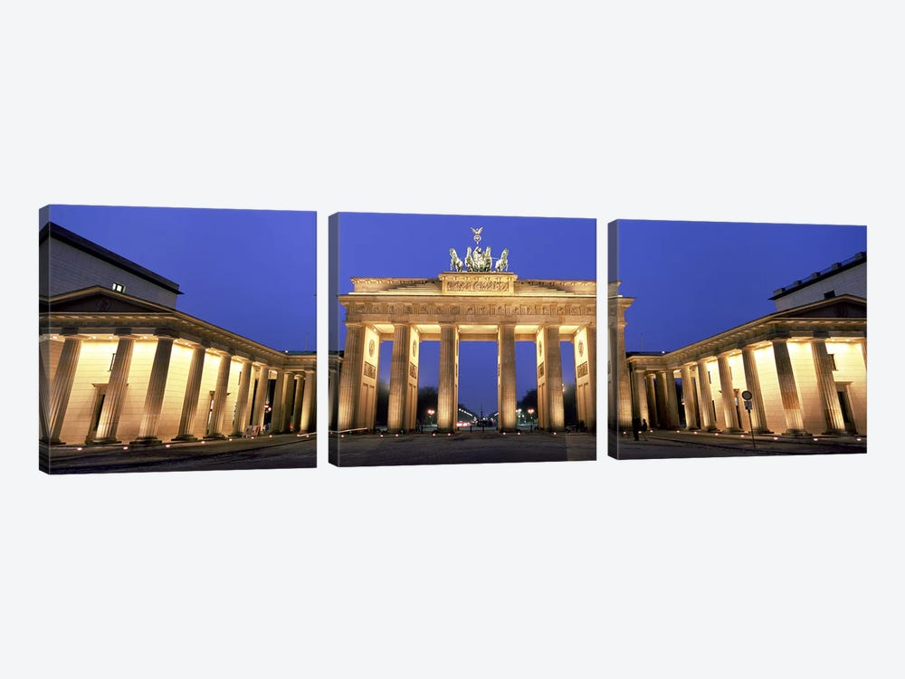 An Illuminated Brandenburg Gate, Berlin, Germany by Panoramic Images 3-piece Canvas Artwork