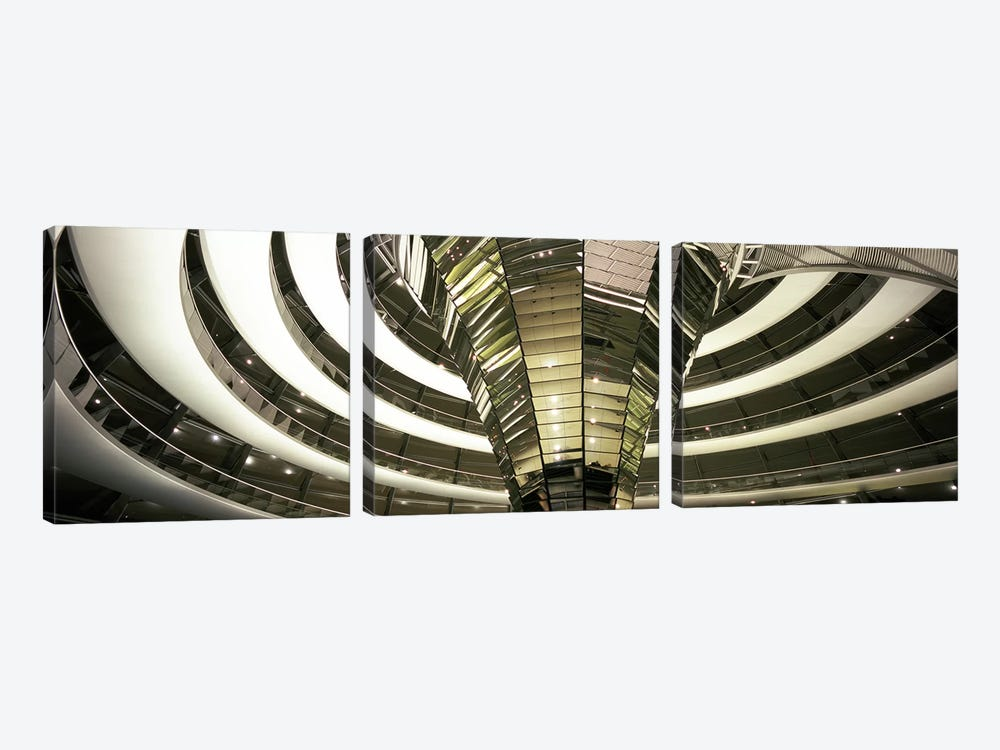 Interior Of Dome & Cone, Reichstag, Berlin, Germany by Panoramic Images 3-piece Canvas Artwork
