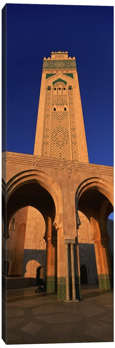 Low angle view of the tower of a mosque, Hassan II Mosque, Casablanca, Morocco Canvas Art Print