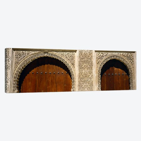 Low angle view of carving on arches of a palace, Court Of Lions, Alhambra, Granada, Andalusia, Spain Canvas Print #PIM5573} by Panoramic Images Canvas Wall Art