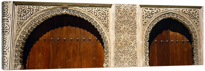 Low angle view of carving on arches of a palace, Court Of Lions, Alhambra, Granada, Andalusia, Spain Canvas Art Print