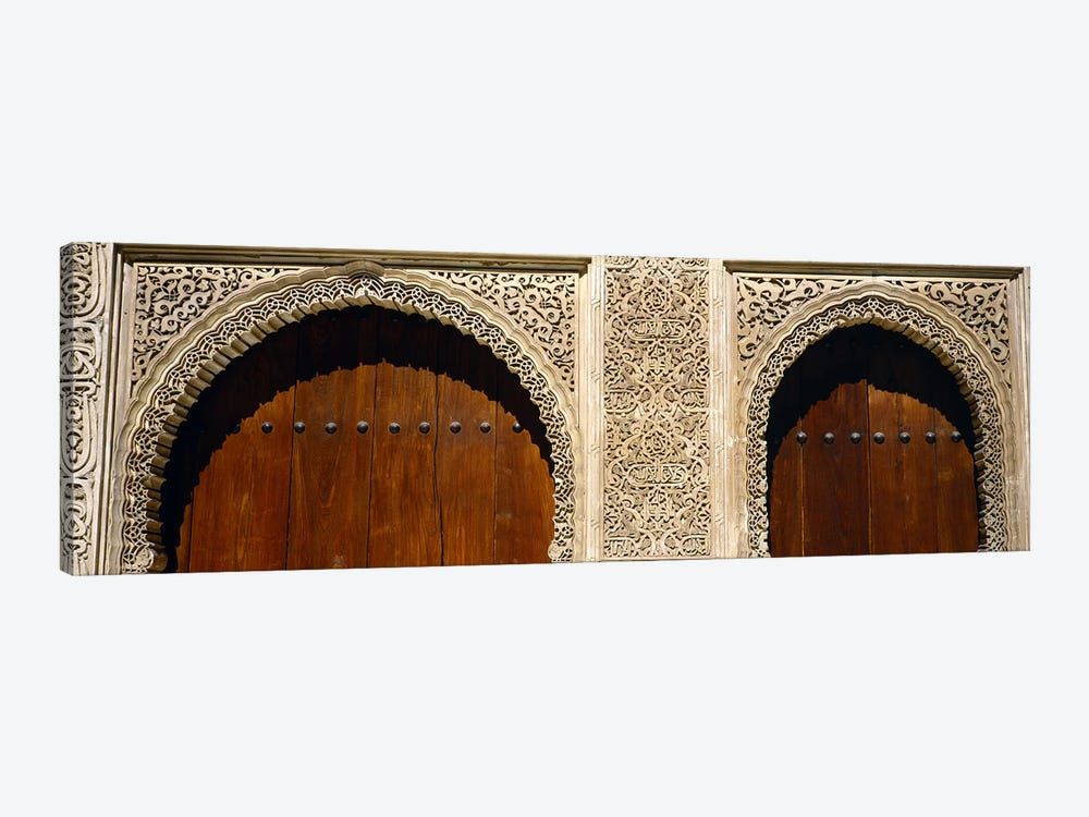 Low angle view of carving on arches of a palace, Court Of Lions, Alhambra, Granada, Andalusia, Spain by Panoramic Images 1-piece Canvas Wall Art