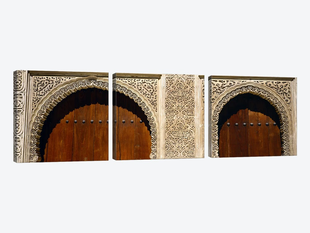 Low angle view of carving on arches of a palace, Court Of Lions, Alhambra, Granada, Andalusia, Spain by Panoramic Images 3-piece Canvas Art