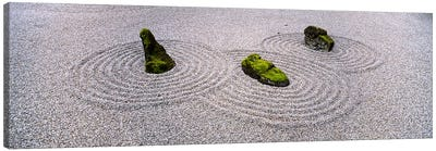 High angle view of moss on three stones in a Zen garden, Washington Park, Portland, Oregon, USA Canvas Art Print