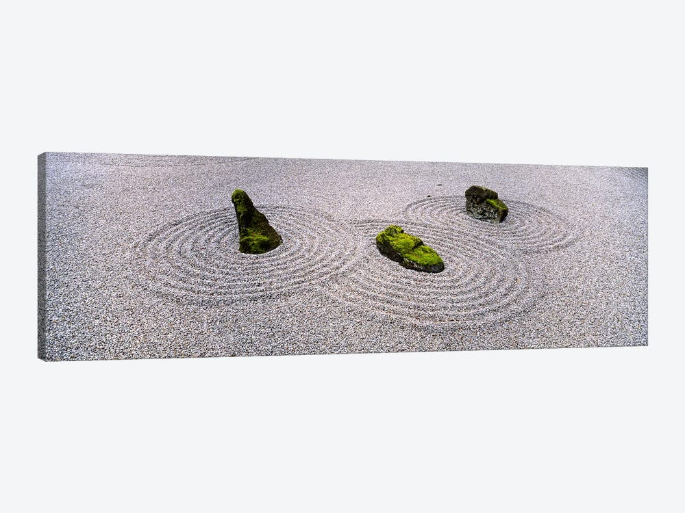 High angle view of moss on three stones in a Zen garden, Washington Park, Portland, Oregon, USA by Panoramic Images 1-piece Canvas Wall Art
