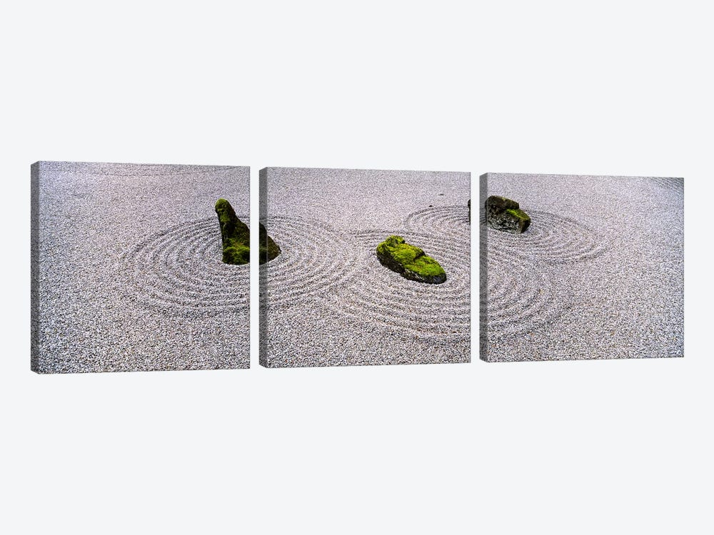 High angle view of moss on three stones in a Zen garden, Washington Park, Portland, Oregon, USA by Panoramic Images 3-piece Canvas Art