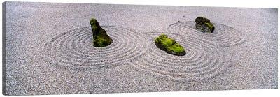 High angle view of moss on three stones in a Zen garden, Washington Park, Portland, Oregon, USA Canvas Art Print