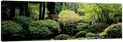 Panoramic view of a garden, Japanese Garden, Washington Park, Portland, Oregon Canvas Art Print
