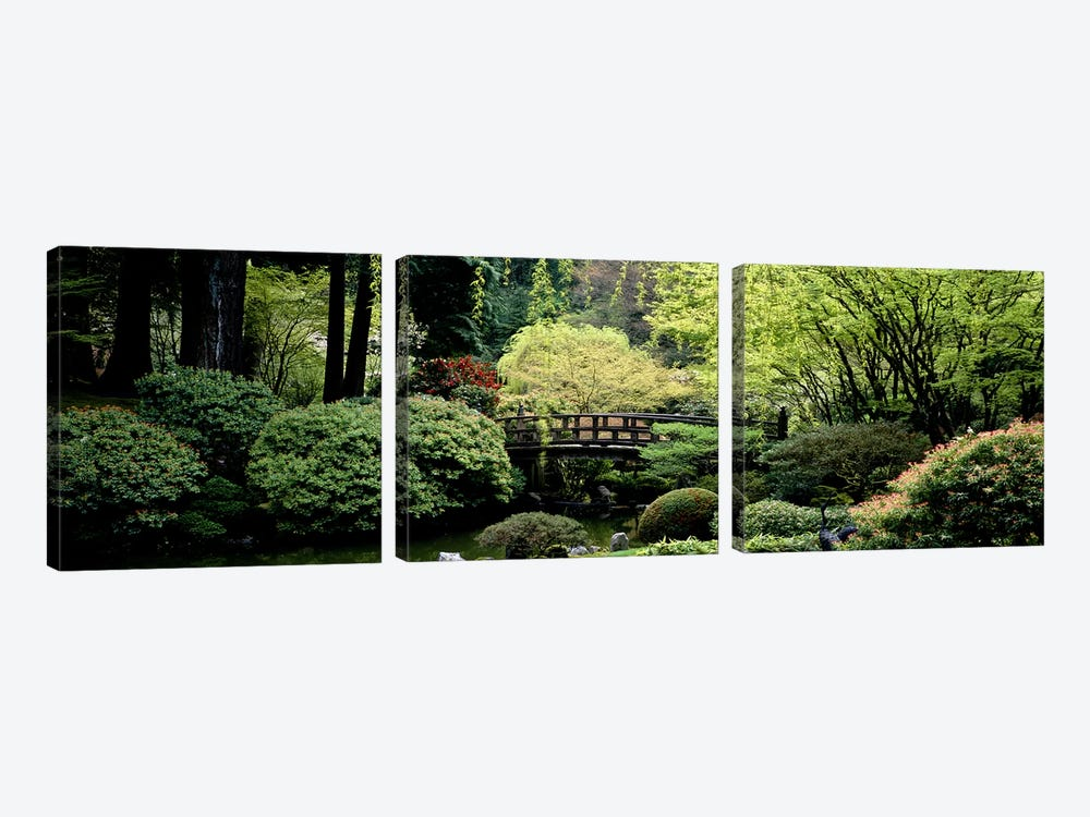Panoramic view of a garden, Japanese Garden, Washington Park, Portland, Oregon by Panoramic Images 3-piece Canvas Wall Art