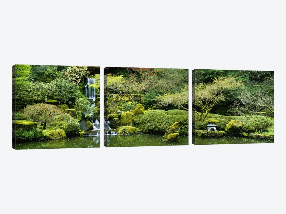 Waterfall in a garden, Japanese Garden, Washington Park, Portland, Oregon, USA by Panoramic Images 3-piece Canvas Art