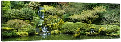Waterfall in a garden, Japanese Garden, Washington Park, Portland, Oregon, USA Canvas Art Print