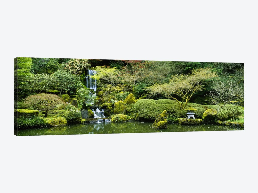 Waterfall in a garden, Japanese Garden, Washington Park, Portland, Oregon, USA by Panoramic Images 1-piece Canvas Wall Art