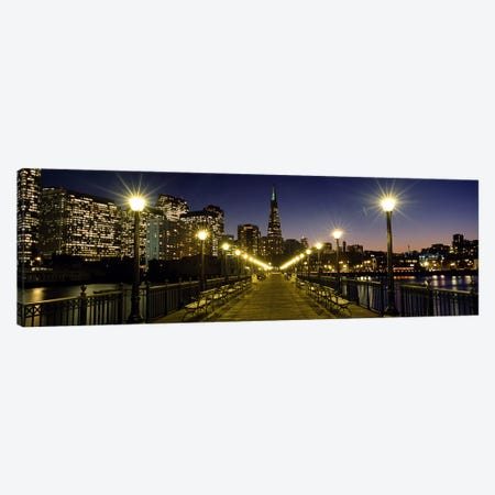 Buildings lit up at night, Transamerica Pyramid, San Francisco, California, USA Canvas Print #PIM5582} by Panoramic Images Canvas Print