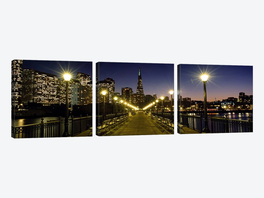 Buildings lit up at night, Transamerica Pyramid, San Francisco, California, USA by Panoramic Images 3-piece Canvas Art