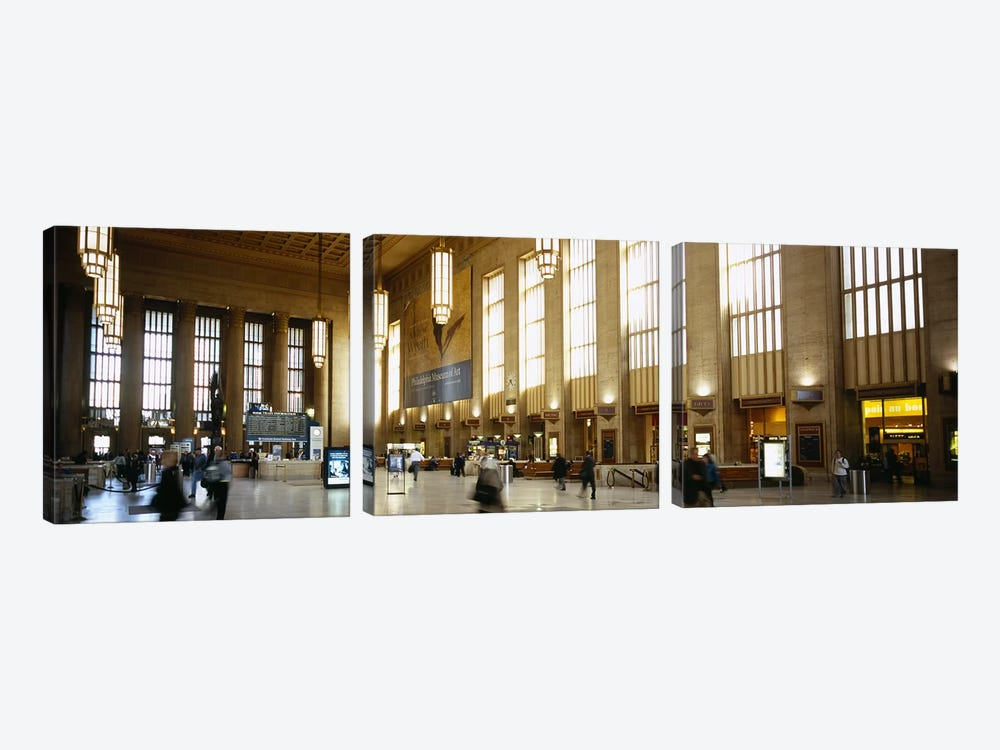 Group of people at a station, Philadelphia, Pennsylvania, USA 3-piece Canvas Art Print