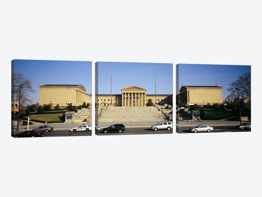 Facade of an art museum, Philadelphia Museum Of Art, Philadelphia, Pennsylvania, USA by Panoramic Images 3-piece Canvas Artwork