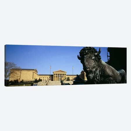 Close-up of a sculpture of a buffalo with a museum in the background, Philadelphia Museum Of Art, Philadelphia, Pennsylvania, USA Canvas Print #PIM5587} by Panoramic Images Canvas Art